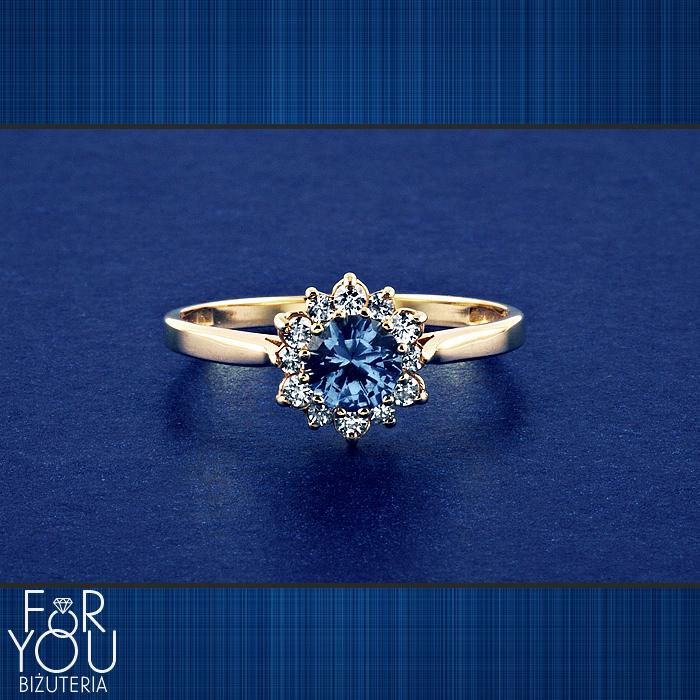 Złoty Pierścionek Zaręczynowy Akwamaryn Pierścionki Zaręczynowe