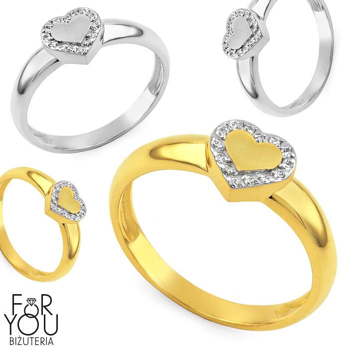 Złoty Pierścionek Zaręczynowy Z Sercem Pierścionki Zaręczynowe